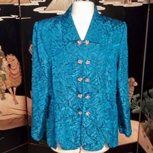 Vintage Leslie Fay Jacket Blue Green Silver Button